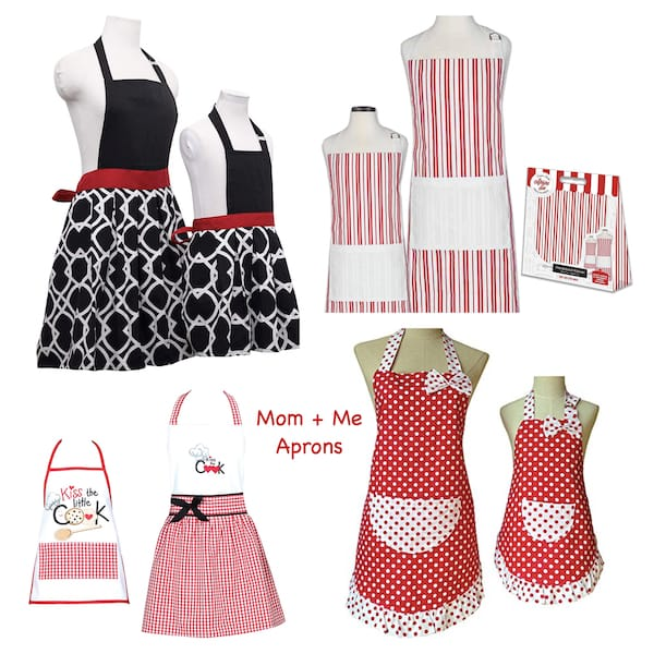 Mom and Me Matching Red and White Aprons