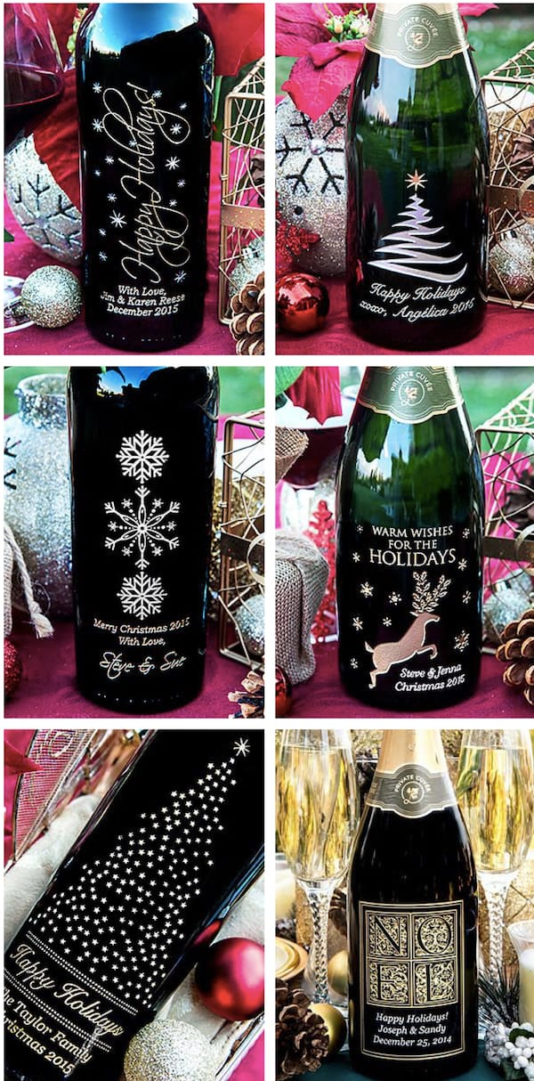 Personalized Holiday Etched Wine Bottles