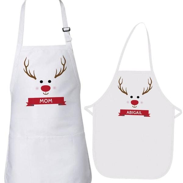 Family Matching Personalized Reindeer Aprons