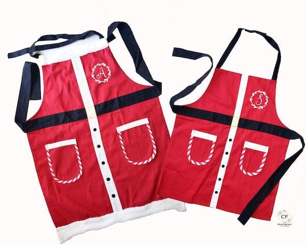 Personalized Santa Suit Aprons for the Whole Family